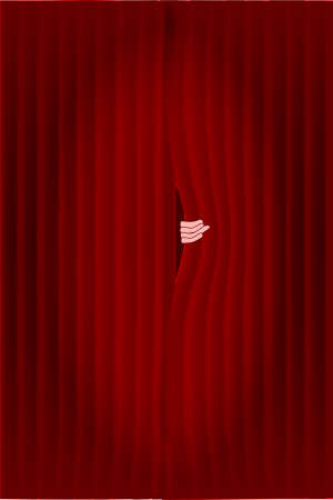 peering: Dark red curtains with a spotlight being puuled slightly open by a hand  Illustration