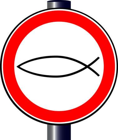 logo poisson: Un grand rond signe de circulation rouge affichant un logo chr�tien de poissons