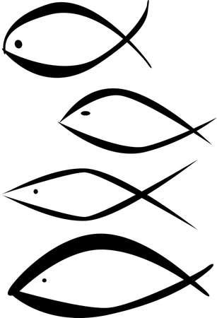 pez cristiano: Una colecci�n de logos cristiano de los pescados