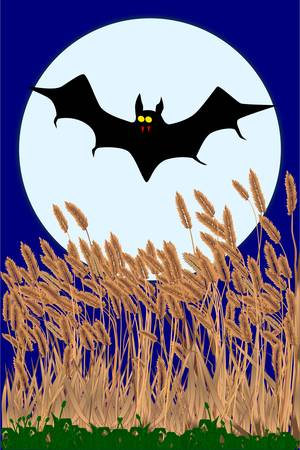 sucking: A vampire bat flying over a field during a full moon