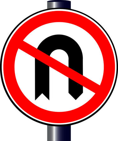 u turn sign:  no u turn traffic sign