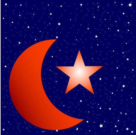 Crescent moon with large star set against a star studded background. Vector