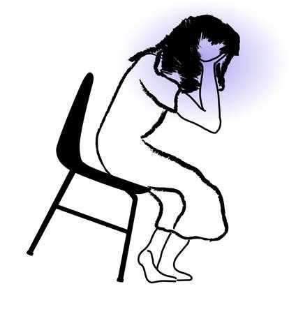 perişan: Onun elinde bir sandalye tutucu başını oturan bir üzücü bir kız Çizim