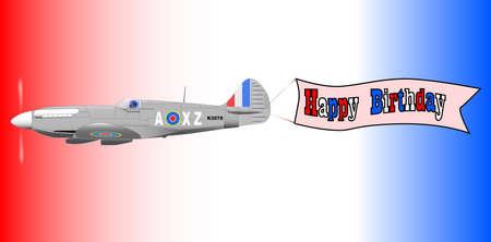 avion de chasse: Une guerre mondiale 2 avion de chasse de remorquage d'une banni�re Joyeux Anniversaire