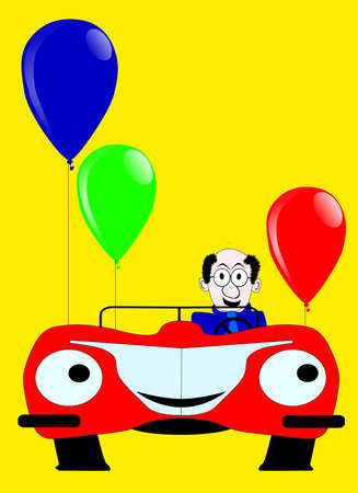 Birthday day card with sports car and baloons Stock Vector - 18937133