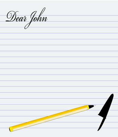 john: The start of a dear john letter on lined paper Illustration