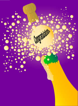 Champagne bottle being opened with froth and bubbles with a large bubble with congratulations text Stock Vector - 18937152