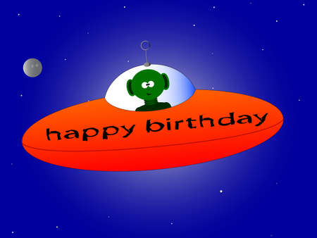 flying saucer: A happy birthday mesage from a flying saucer and alien.