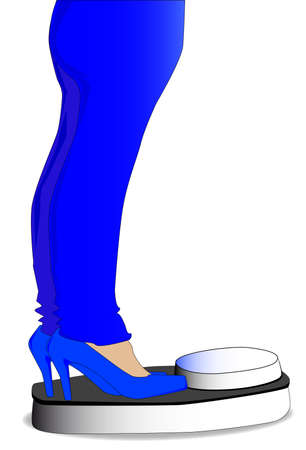heals: A womens legs, in a pair of jeans, on scales. Isolated over white.