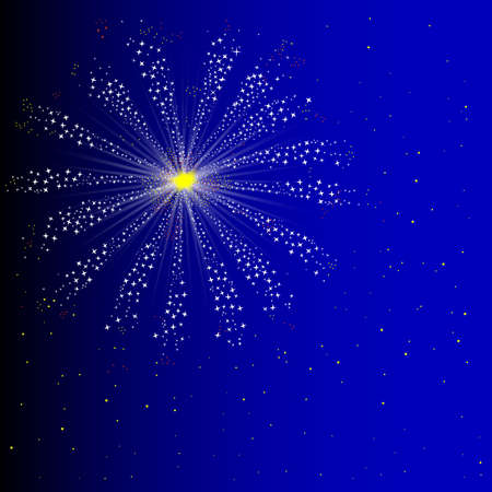 bonfire night: A single firework exploding in the night sky Illustration