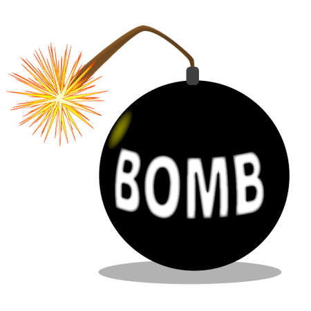 A cartoon style bomb isolated over a white background Stock Vector - 19008169