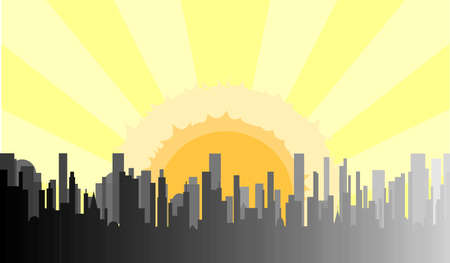 A grey cityscape shown in grey and silhouette against a rising morning sun Vector