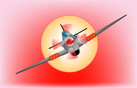 A fighter plane diving  out of the sun   Illustration