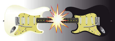 opposites: One black and one white electric guitar meeting together at the neck and creating a large flash