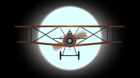 A WWI RFC fighter plane flying against the full moon  Vector
