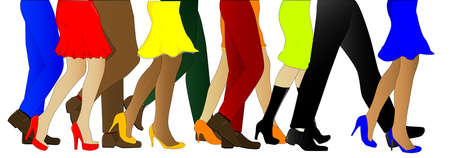 womens clothing: A collection of male and female legs walking forward in line, isolated over white.