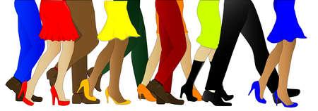 fraue: Eine Sammlung von männlichen und weiblichen Beinen vorwärts gehen in der Linie, isoliert über weiß. Illustration
