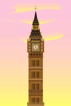 분홍색과 노란색 하늘 새벽 런던 랜드 마크 빅 벤 시계탑 일러스트