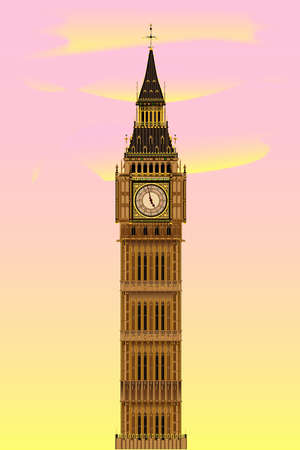 The London landmark Big Ben Clocktower at dawn against a pink and yellow sky