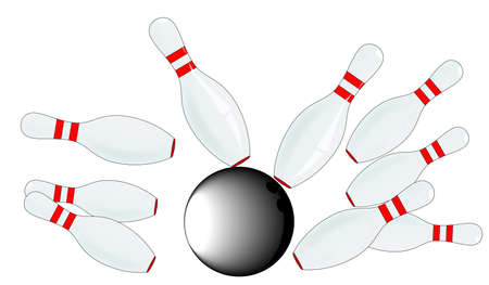 ten pin bowling: A set of ten pin skittle and a bowling ball, isolated on white  Illustration