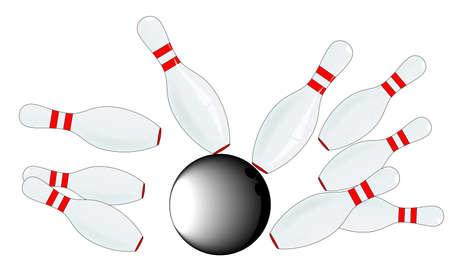 kegelen: Een set van tien pin kegel en een bowling bal, geïsoleerd op wit