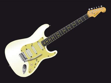 frets: Una guitarra el�ctrica de cuerpo s�lido aislado sobre un fondo negro.