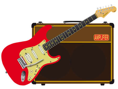 A solid body electric guitar with a valve amplifier isolated over a white background  Vector