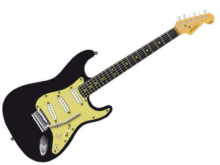 fender: A traditional solid body electric guitar isolated over white  Illustration