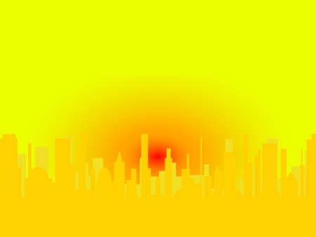urban sprawl: City scape with a large red setting sun