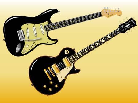 pickups: La roccia definitivo e chitarre rotolo in nero. Vettoriali