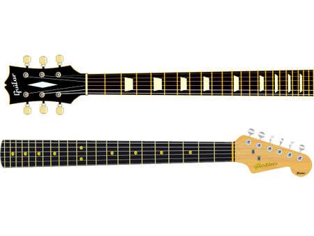 Twee gitaarhalzen geïsoleerd over een witte achtergrond. Vector Illustratie