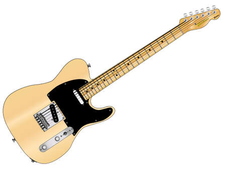 fender: A traditional rock and roll guitar isolated over a white background