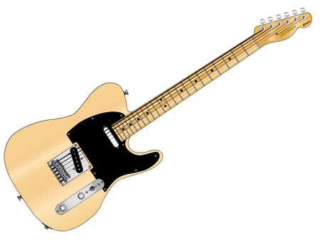 pickups: Un tradizionale chitarra rock and roll isolato su uno sfondo bianco