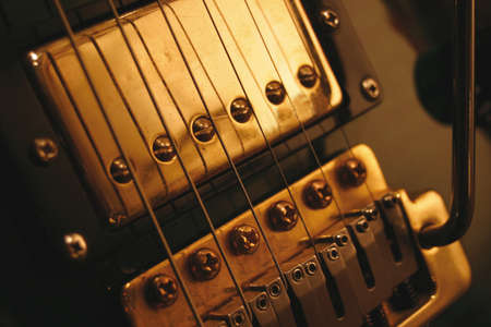 tremolo: A gold plated humbucking pickup and trmolo block with arm from a modern guitar.