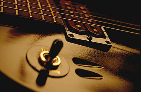 selector: A guitar pickup selector switch on a humbucker equiped guitar.