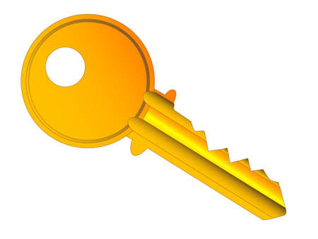 A typical front door key. Vector