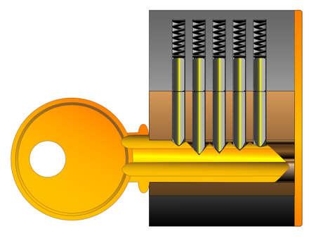 cutaway drawing: Una serratura e chiave spaccato