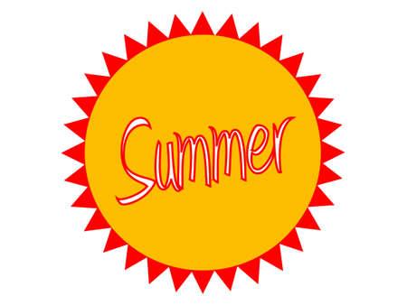 A summer logo on a bright button