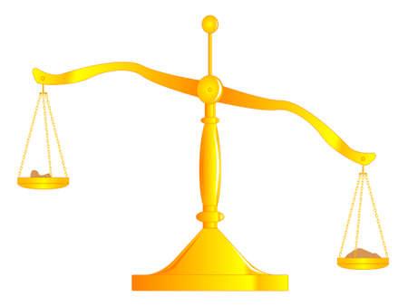 unbalanced: A set of unbalanced scales isolated on white. Illustration
