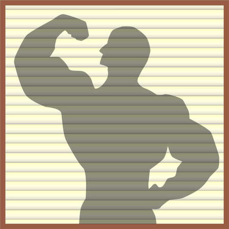 showoff: Silhouette of a body builder on the blinds