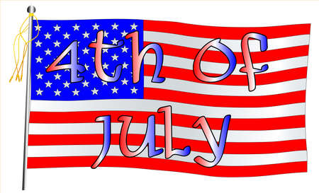 The Starts and Stripes with the legend 4th July  Vector