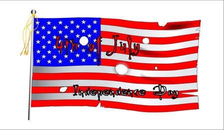 4th of july: A worn Stars and Stripes flag with a 4th July message  Illustration
