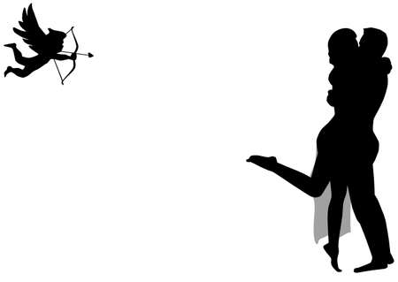 Cupid aiming his arrow at a kissing couple, isolated on white  Vector