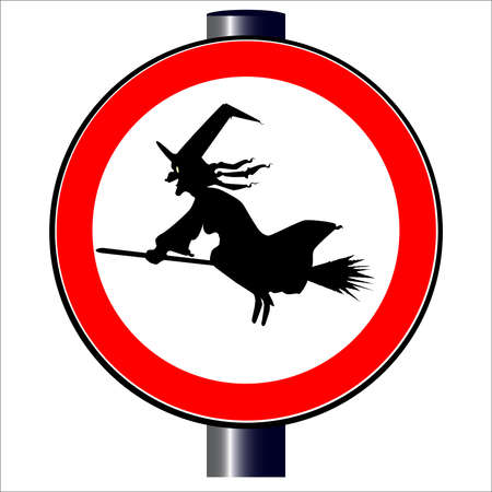 Witch spoof traffic sign  Vector