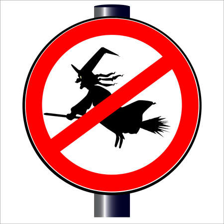 spoof: A no witches spoof traffic sign