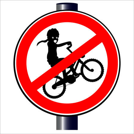 A child on a bike on a road sign, isolated  Stock Vector - 20388021