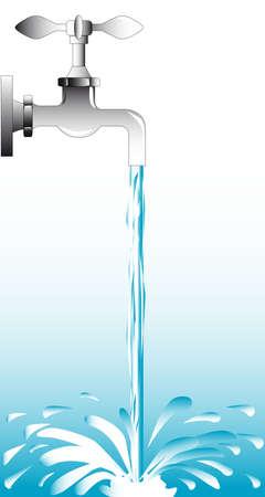물이 흐르는 열려있는 탭.