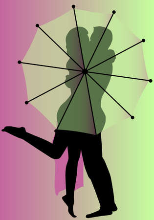A kissing couple behind an open umbrella  Ilustrace