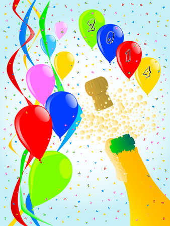 popping cork: Multi coloured balloons, confetti and streamers, a party image  Illustration