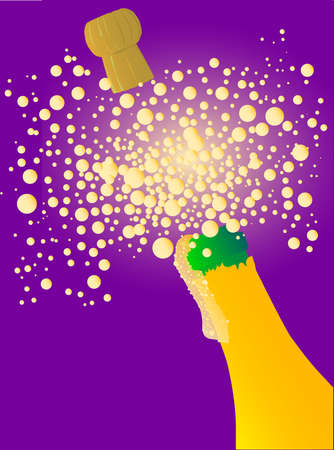 Champagne bottle being opened with froth and bubbles Stock Vector - 20708768